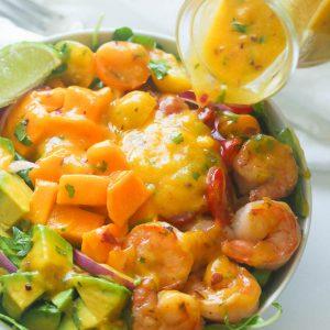 Mango avocado shrimp salad with mango dressing