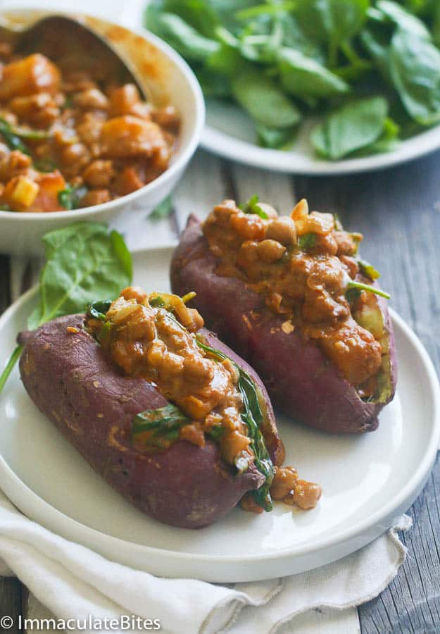 ... Curried chickpea stuffed sweet potatoes will satisfy that craving. It