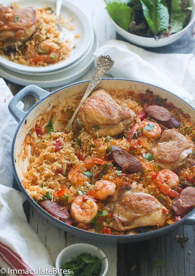 Cajun jambalaya with chicken, shrimp, and sausage