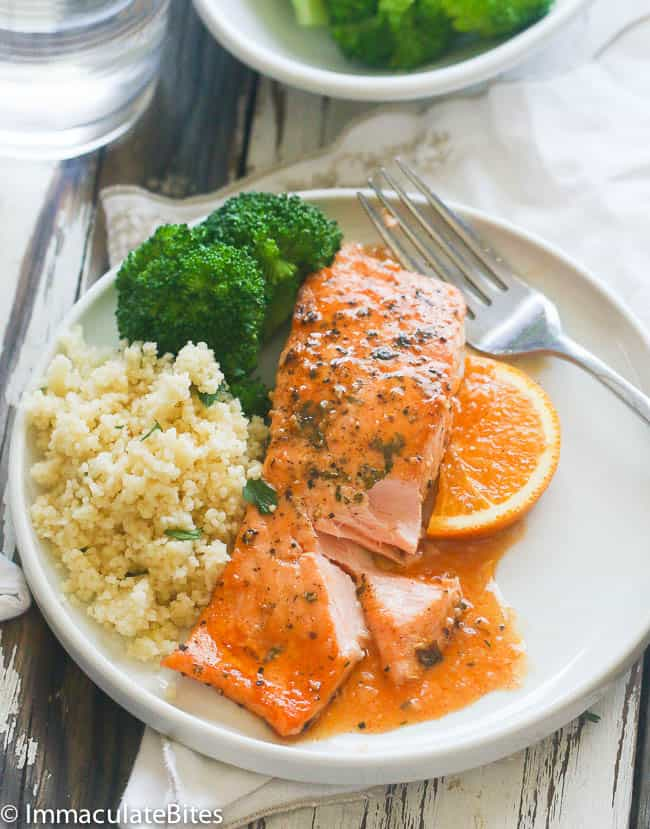 A plate with Orange Honey Glazed Salmon served with rice