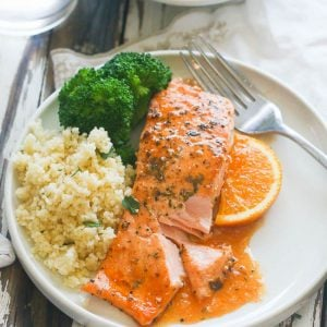 A plate of Orange Honey Glazed Salmon served with rice