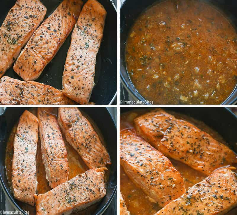 Orange Honey Glazed Salmon Collage