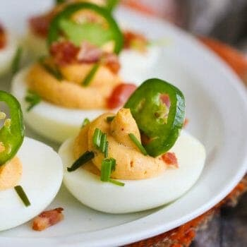 Deviled Eggs with bacon and jalapeños