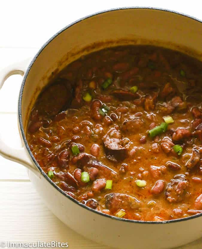 Red beans and rice in a pot
