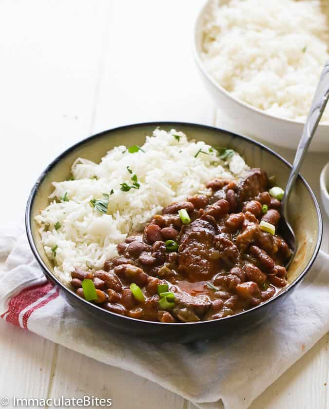 Red beans and rice on a shallow bowl