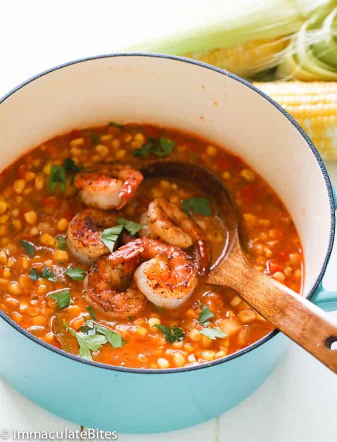 Cajun Corn Shrimp Soup in a pot