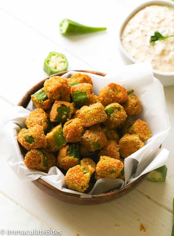 fried okra with dip