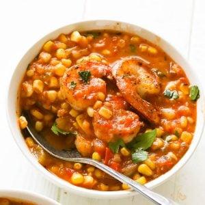 Cajun shrimp and corn soup