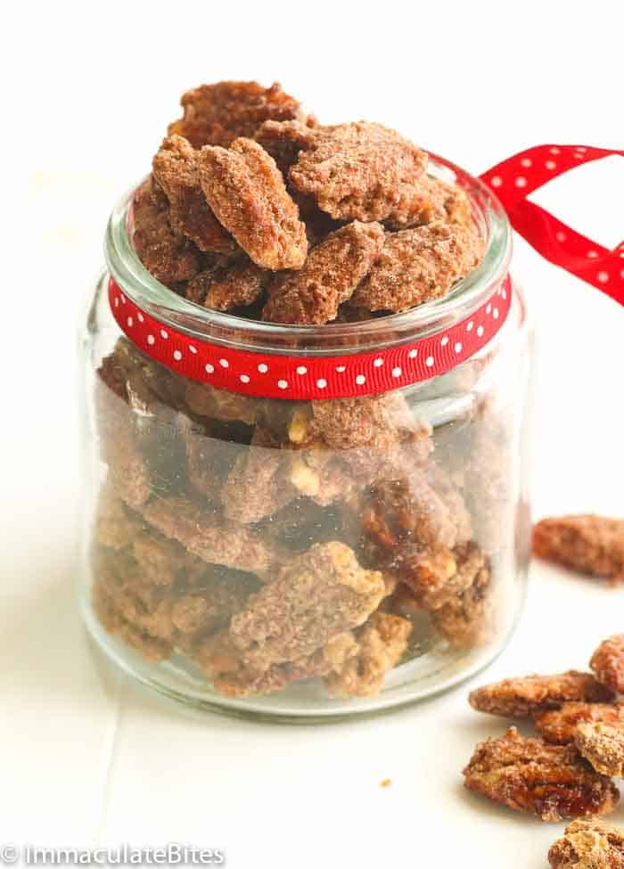 Candied Pecans in a jar
