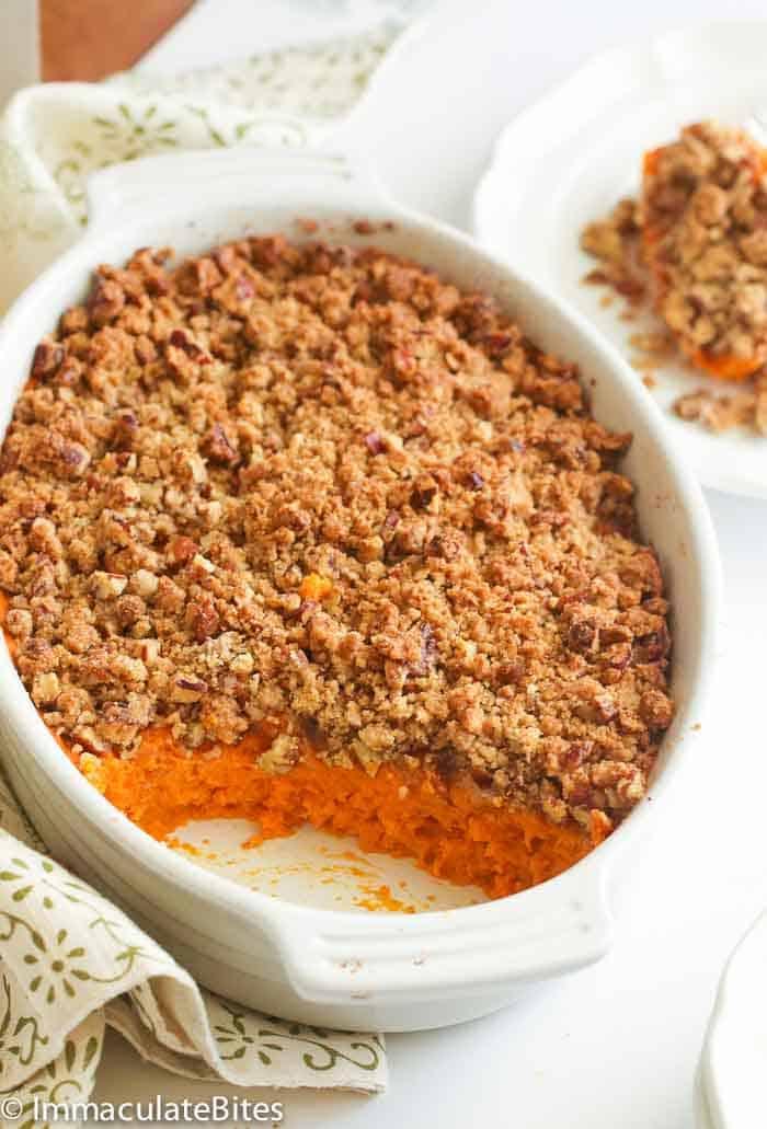 Sweet Potato Casserole - Immaculate Bites