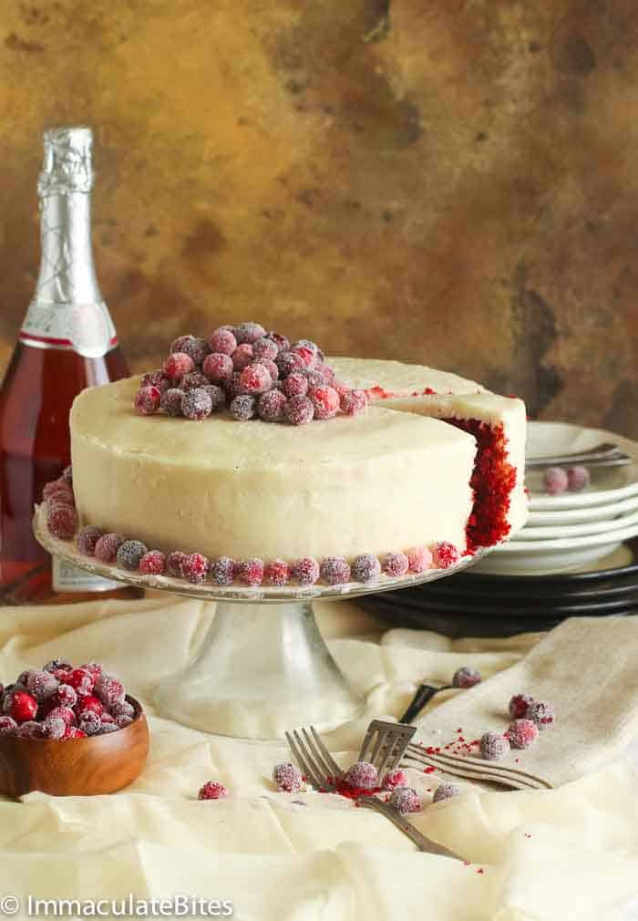 Red Velvet Cake Topped with Candied Cranberries