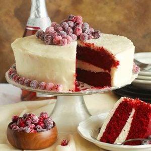 whole red velvet cake sliced