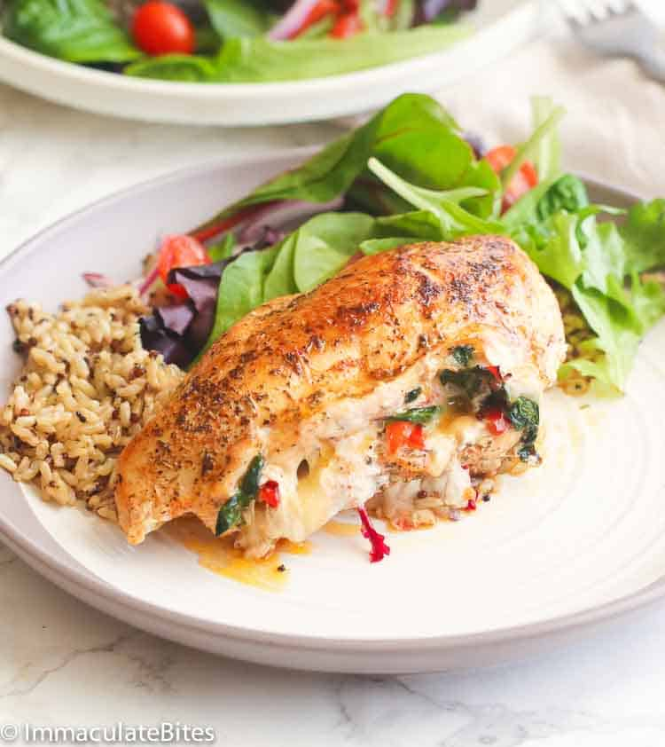 Stuffed chicken breast immaculate bites but if you dont have spinach you can swap it out for finely chopped broccoli florets olives fresh herbs dried tomatoes pickled vegetables to bacon and forumfinder Choice Image