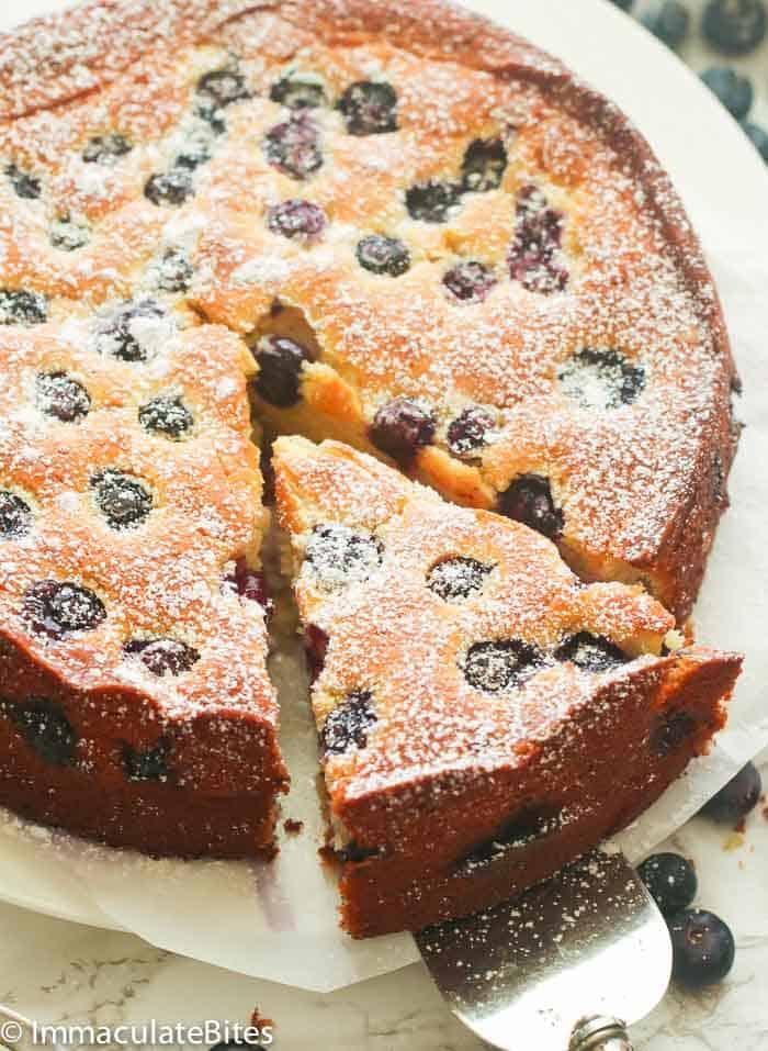 Sliced Blueberry Lemon Cake