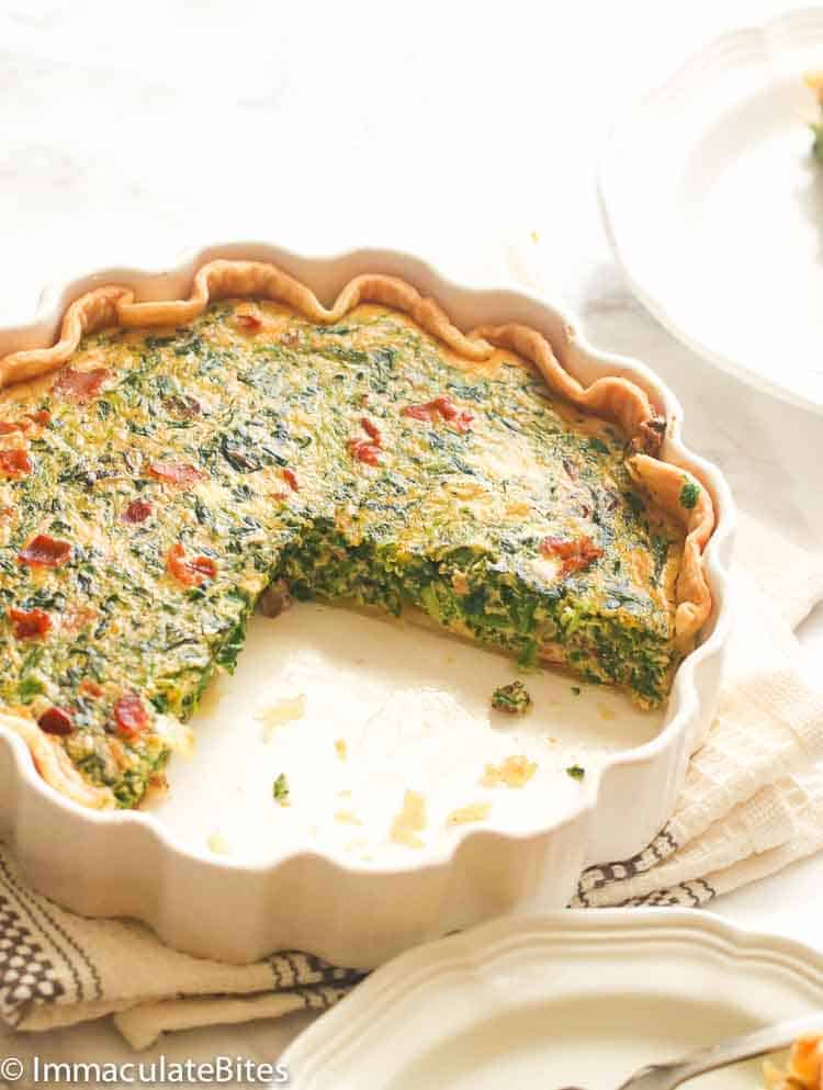 Sliced Open Spinach Quiche