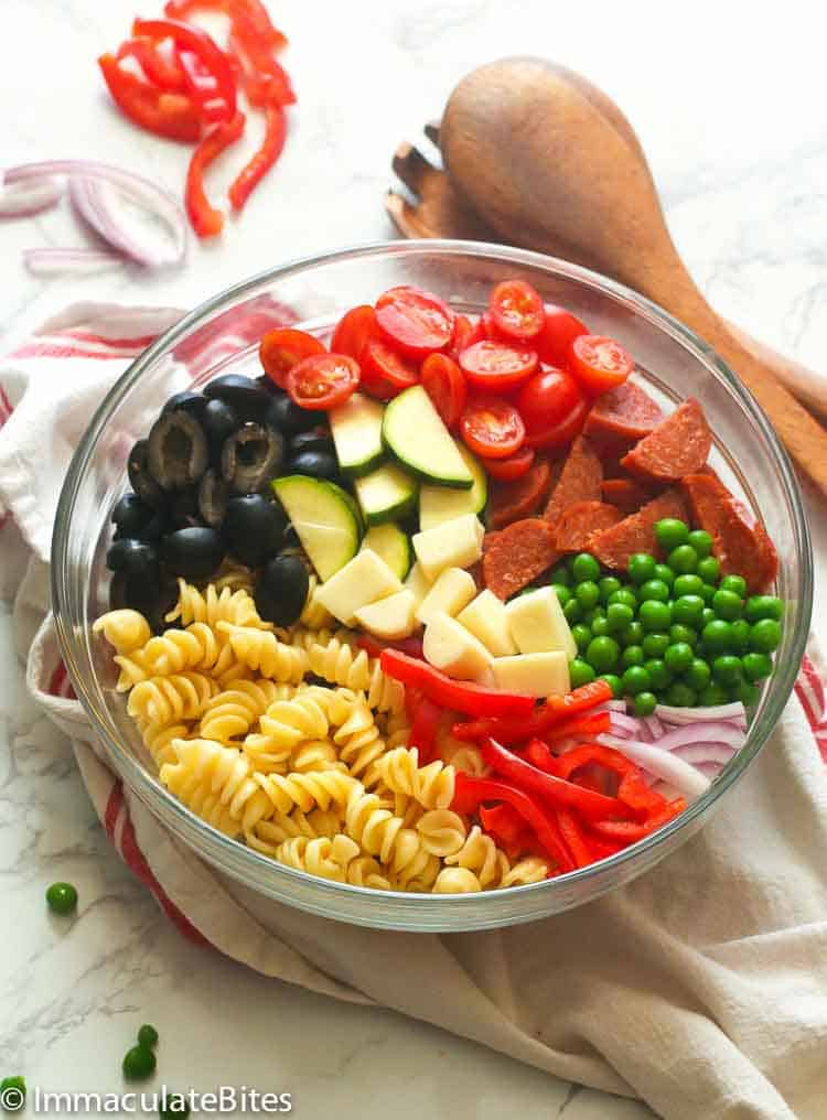 Easy Pasta Salad in a clear bowl
