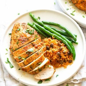 Oven-Baked Chicken Breast with green beans