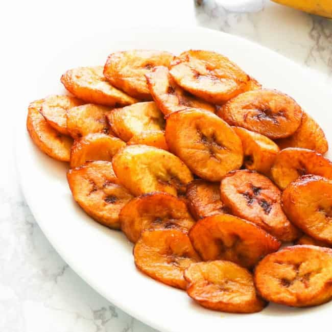 Fried Sweet Plantain on white plate