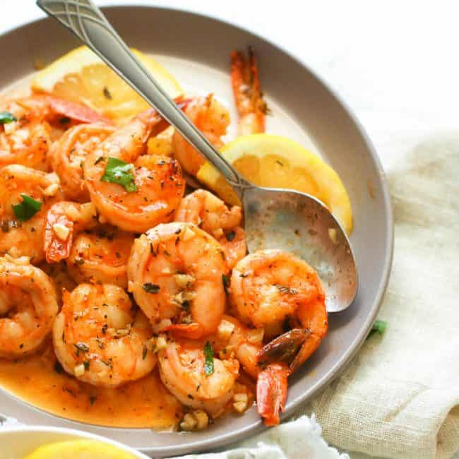 Buttered Shrimps on a plate