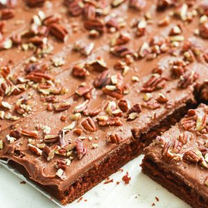 Chocolate cake topped with Pecan nuts