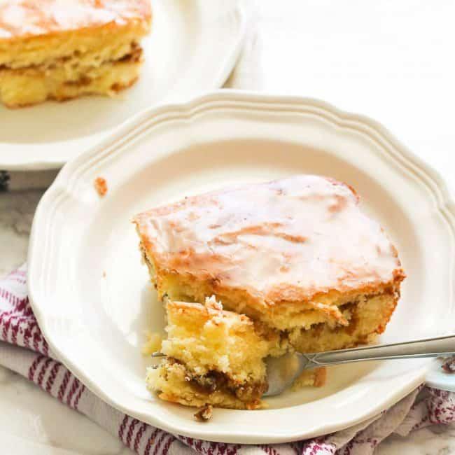 Honey Bun Cake with fork