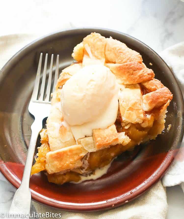 Pineapple Pie with a scoop of vanilla ice cream