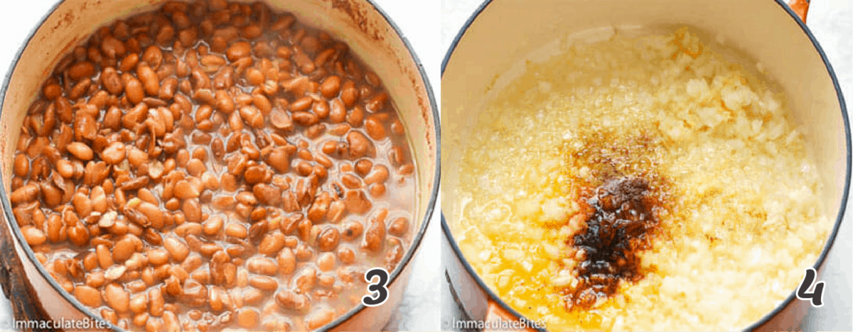 simmering the beans