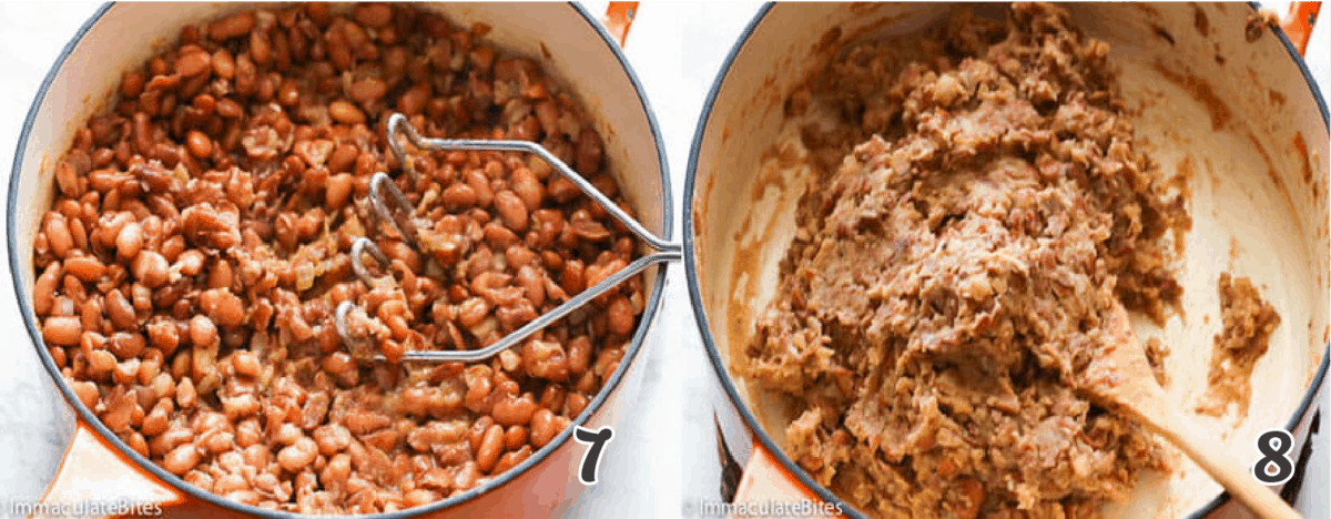 Mashing the beans in a dutch oven