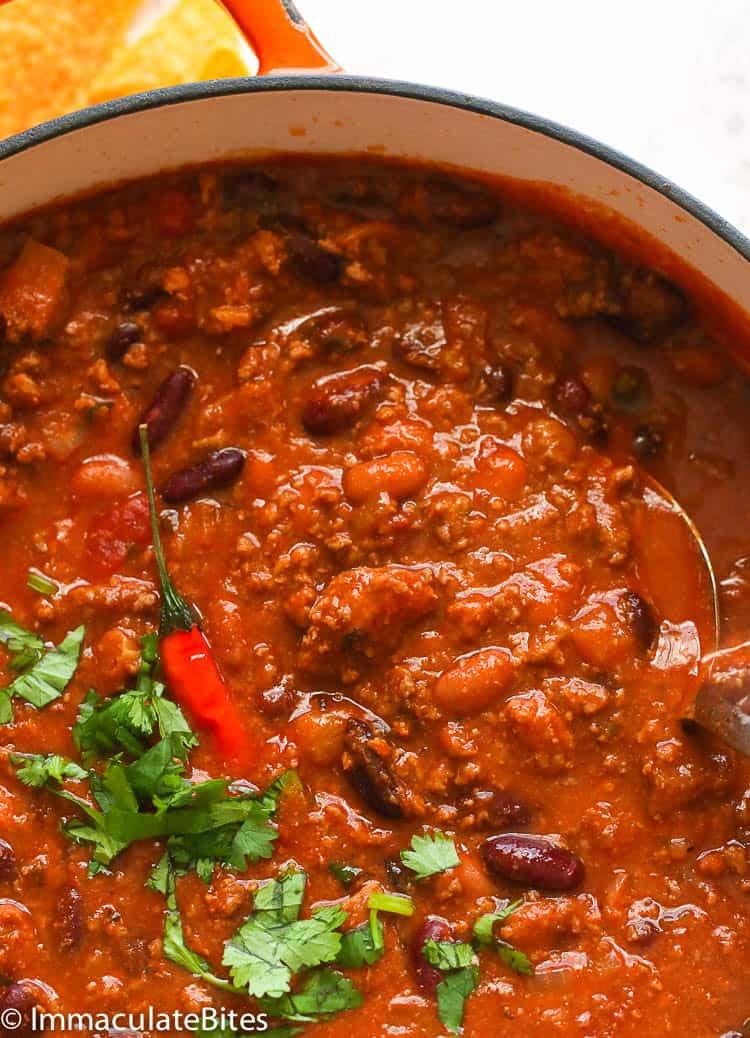 Chili Recipe in a Bowl in a Pot