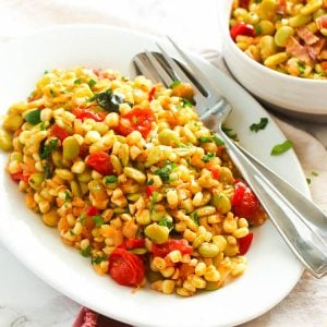 Succotash on a white serving plate
