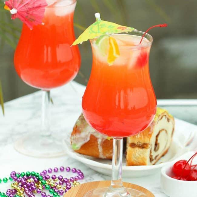 Hurricane drinks with mini umbrellas on top