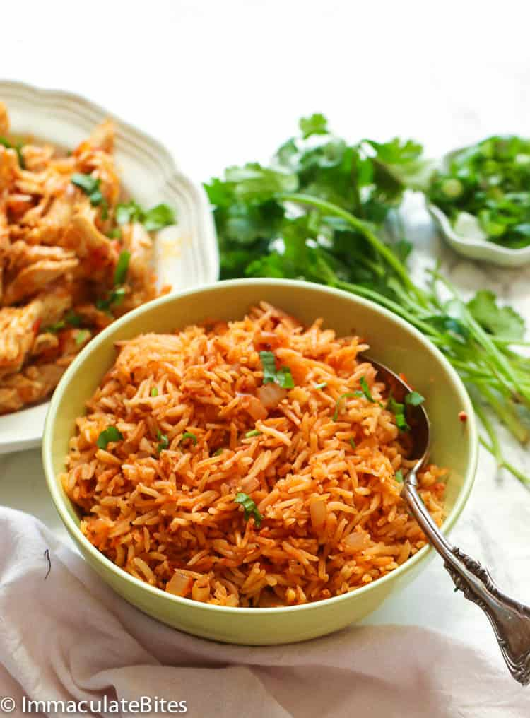 mexican rice with greens at the back
