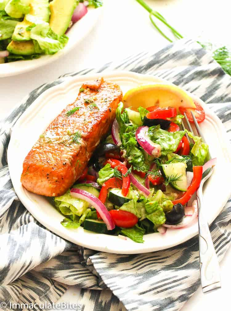 salmon salad on a white plate