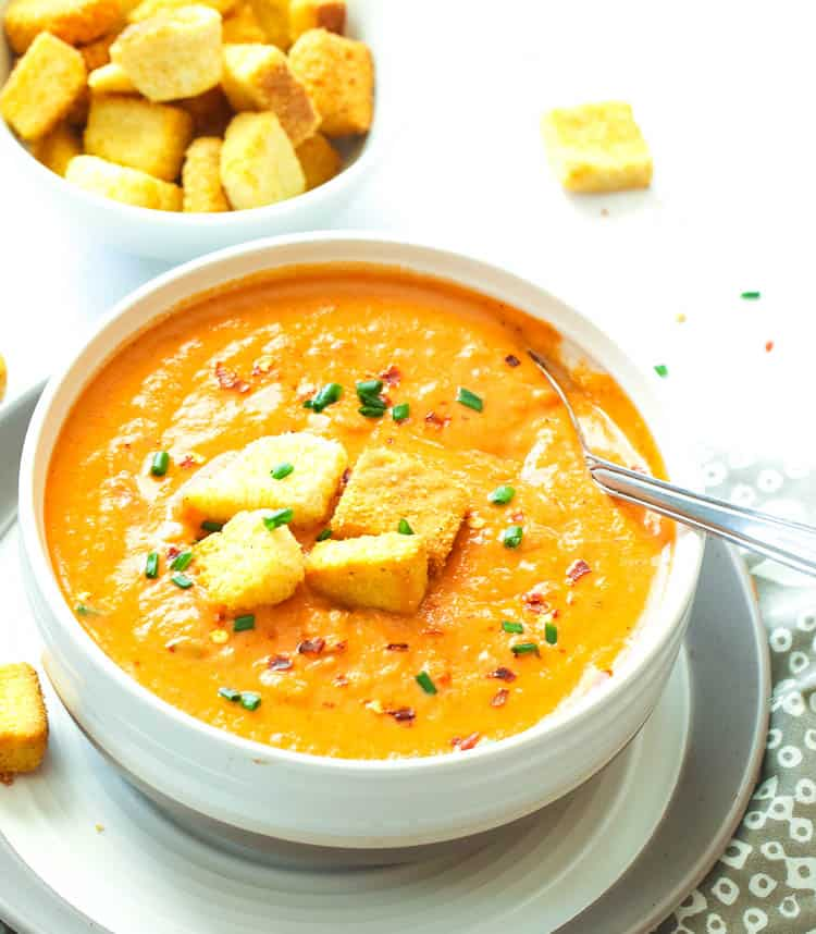 Tomato Bisque with homemade croutons