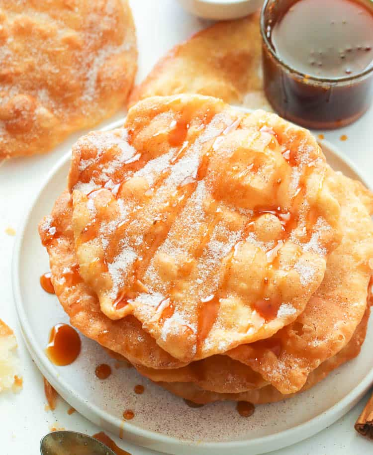 Bunuelos  Recipe with cinnamon sugar and piloncillo syrup