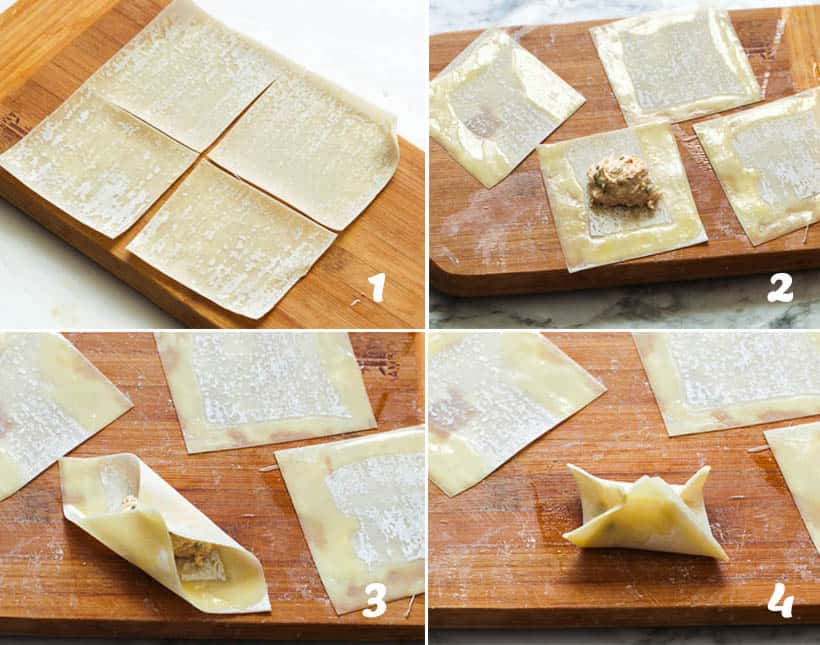 How to Fold Wonton for Crab Rangoon