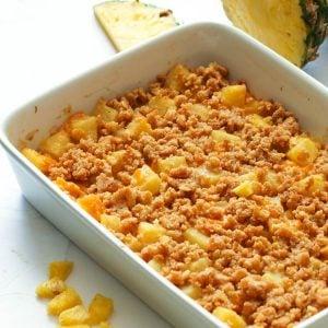 Pineapple Casserole in a pan
