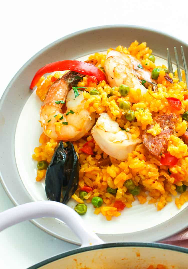 Seafood Paella in a plate