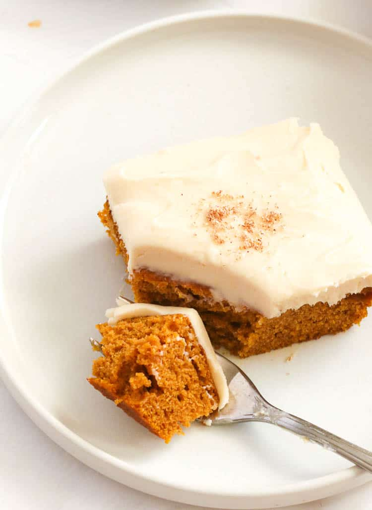 Cake Slice with Caramel Cream Cheese Frosting