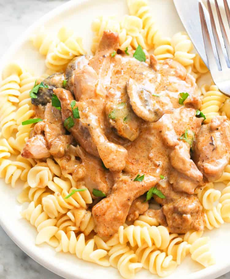 Chicken Stroganoff with egg noodles