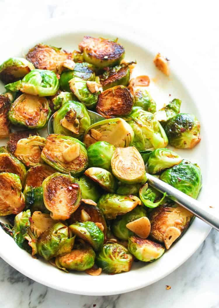 Sauteed Brussel Sprouts in a plate