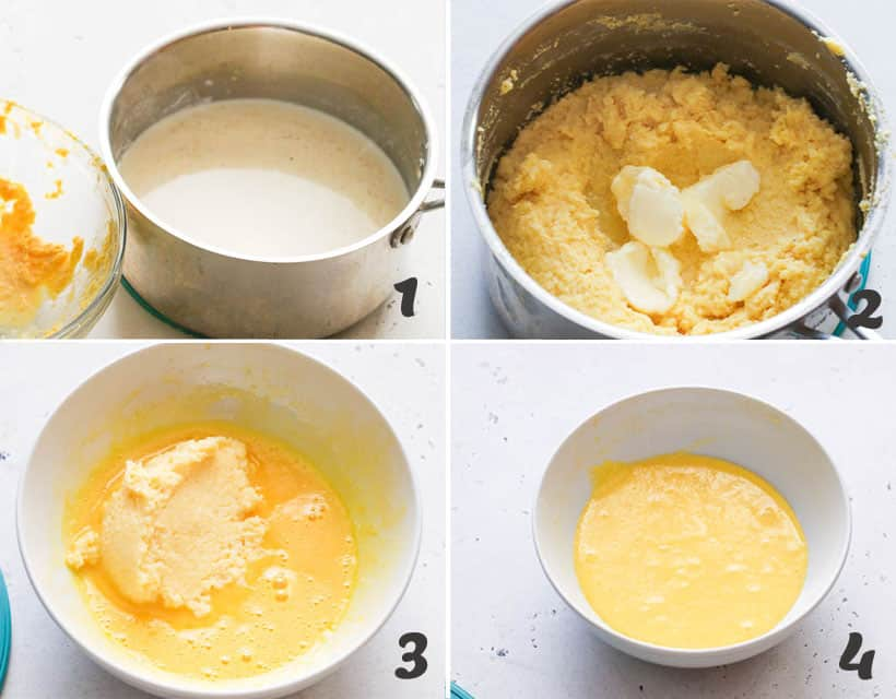 Adding cornmeal and egg mixture into the pot
