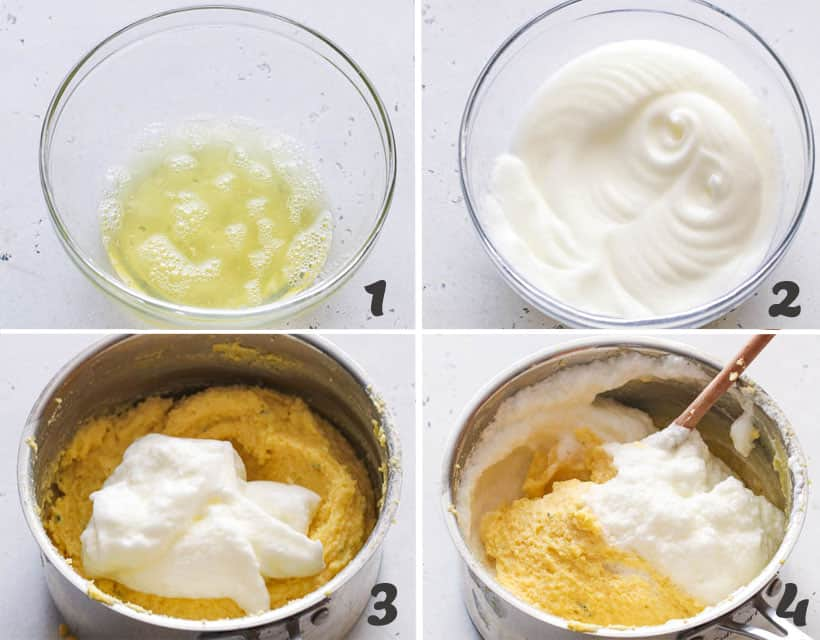 Adding whisked egg white into the pot