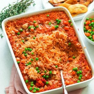 Jollof Rice served in a pan