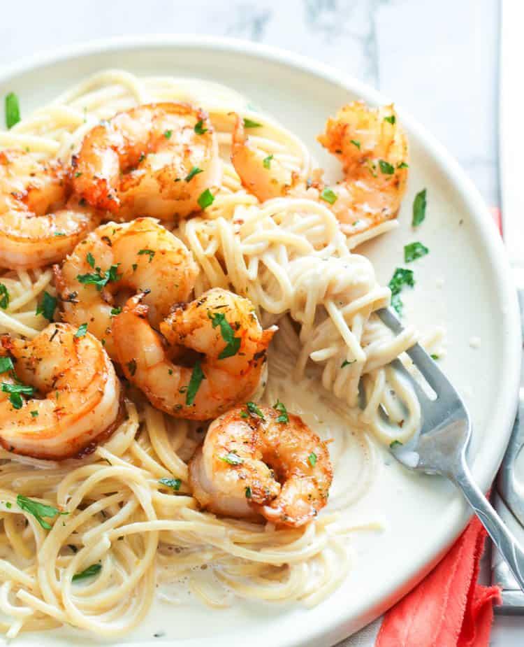 Alfredo Pasta with shrimps