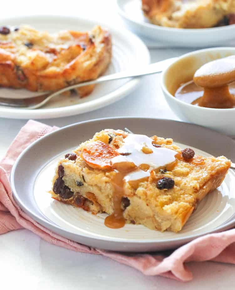Bread Pudding Slice with Rum Sauce