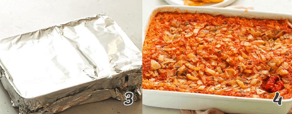jollof rice covered in aluminum for baking