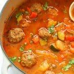 Albondigas Soup in a Pot
