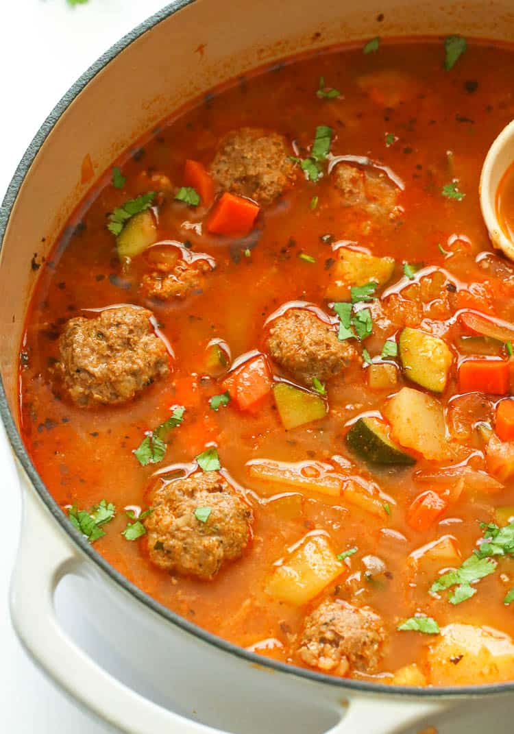 Albondigas Soup in a Pot
