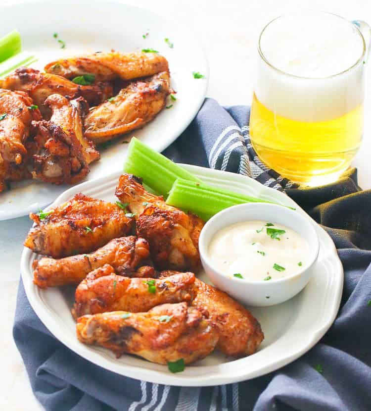 Air Fryer Chicken Wings with Ranch Dressing